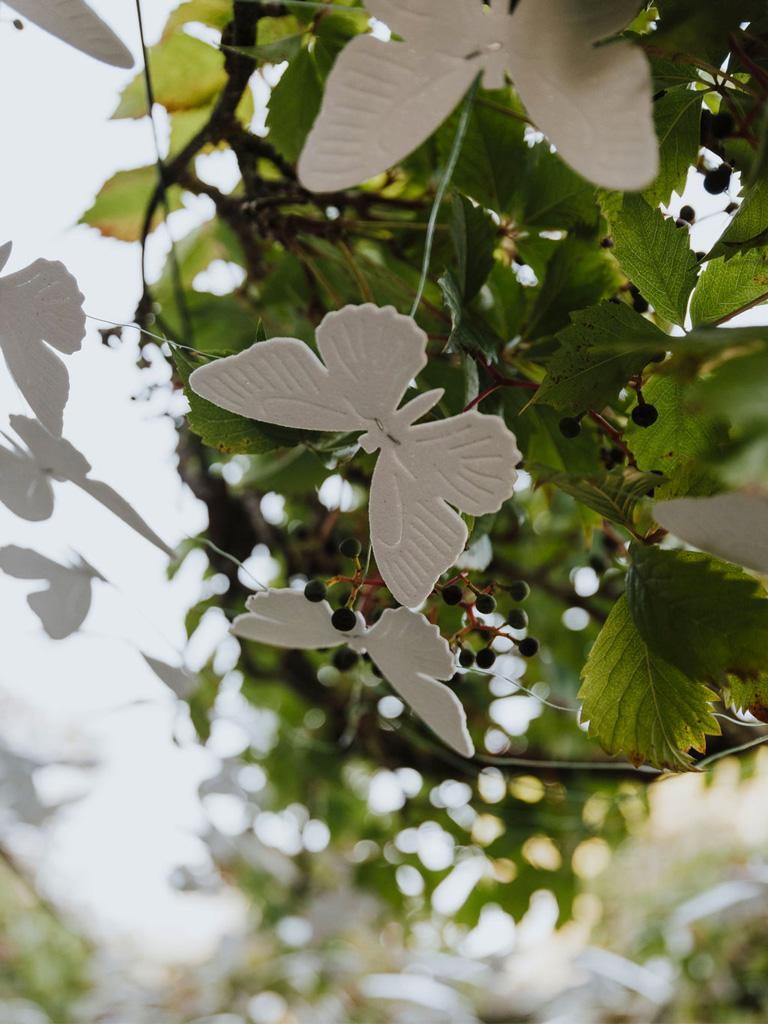 Farfalle decorative per un matrimonio in un giardino incantato