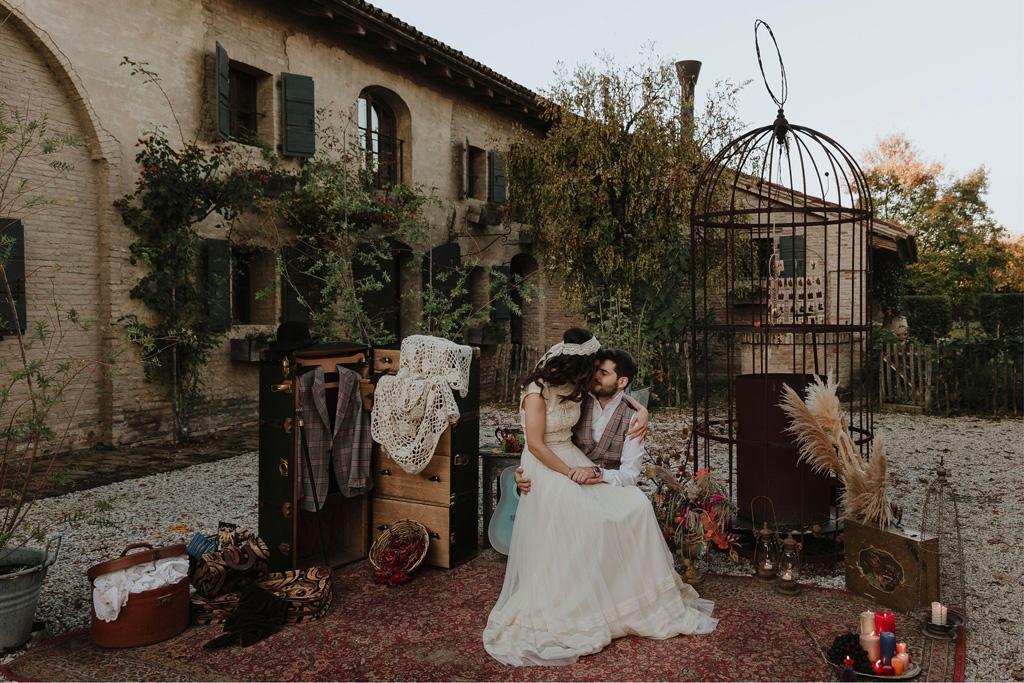 Il Photo Booth di un matrimonio autunnale e bohémien