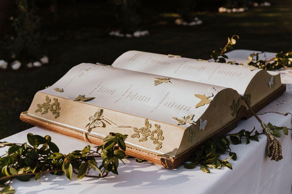 Un tableau mariage a forma di libro