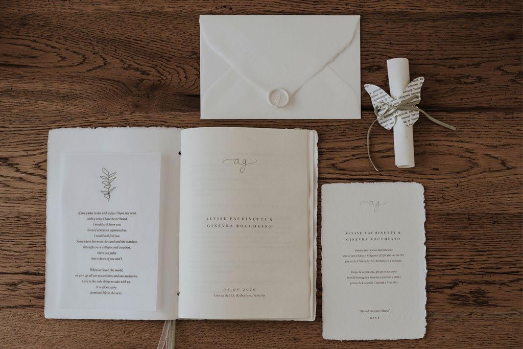 Il coordinato grafico di un matrimonio romantico a Venezia